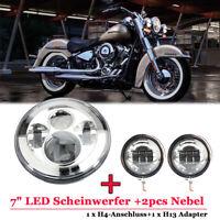"7"" LED Scheinwerfer Hi/Low Beam Chrom mit Projektor+2pcs Nebel für Harley Bobber"