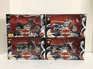 Harley Davidson Maisto 1:18 Scale Die Cast Motorcycle Lot of 4 1997-1998