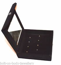 velours noir Piercing Miroir Boite de rangement - 8 piercing CLIPS