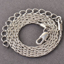 -10K White Gold Filled GF Snake Bone Chain Necklace 40.5 +5cm Long 1mm Wide
