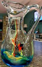Murano Cenedese Glass Fish Aquarium Pitcher Block Engraved Base