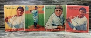 Set of 4 - 12 inch tall 1933 Goudey Babe Ruth  Wooden Cards ! Sports Room Decor