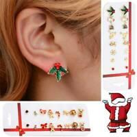 8 Pairs Christmas Tree Snowflake Deer Bow Ear Stud Earrings Xmas Jewelry Gift-RO