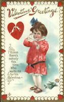 Valentine - Little Girl Crying - Broken Doll DELTIOLOGY Postcard Advertising