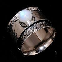 Rainbow Moonstone 925 Sterling Silver Spinner Ring Meditation statement Ring sr2
