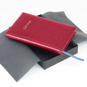 Real Leather Pocket Golf Score Book - Red - IDEAL XMAS GIFT
