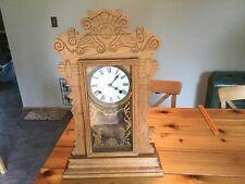 Antique Waterbury possibly Oak Gingerbread Kitchen Shelf Mantel Clock 24� Tall