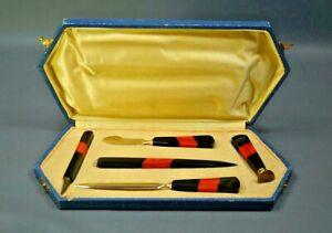 Art Deco Bakelite Writing Desk Set Letter Opener Pencil Dip Pen Seal Ink Knife