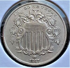 USA/ 5 Cents 1867/ Shield Nickel/ KM.97/ Excellent Condition/ CUPRO-NICKEL COIN