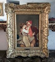 Antique 19th C. Oil Painting Portrait Grandfather & Boy Signed O/C European Art