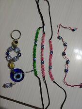 Lot of Beaded Decorative Mini Pendant Key Holder Silver Blue Hand Chain Lace