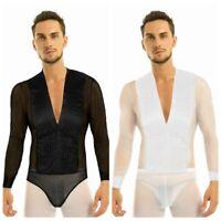 Men's See Through Leotard Dance Shirt Ballroom Modern Salsa Samba Latin Tango