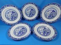 "Royal Cuthbertson Blue Willow Set 11"" Dinner Plates 5 Pc Set"