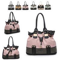 Ladies Studded Slouch Handbag Designer Shoulder Bag Girls Bucket Tote Bag MW5152