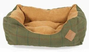 Danish Design Tweed Snuggle Dog Beds Available in Green or Brown