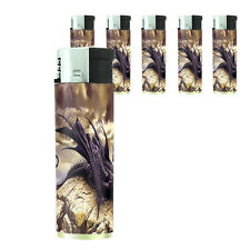Butane Refillable Electronic Lighter Set of 5 Dragon Design-007 Custom Legends