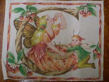 Vintage FAIRY Alphabet Letter 'C' Fabric Panel (14cm x 14cm)