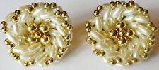 boucles d'oreille clip bijou vintage couleur or fausses perles ovales blanc 30