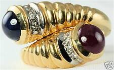 GORGEOUS 14K GOLD RUBY SAPPHIRE DIAMOND BYPASS RING
