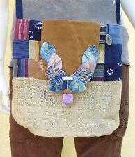 Teens Women Hemp Bitik Top Flap Zipper Closure Strap Drop Shoulder Bag Purse