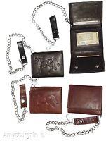 Men's chain trifold wallet genuine leather motorcycle trucker biker new wallet