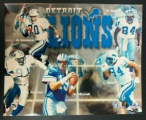 BARRY SANDERS DETROIT LIONS 1990'S TOP 5 PLAYERS TEAM PHOTO 8X10 LICENSED