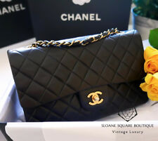 CHANEL BAG BLACK QUILTED 2.55 LAMBSKIN VINTAGE MEDIUM CLASSIC DOUBLE FLAP GHW A1