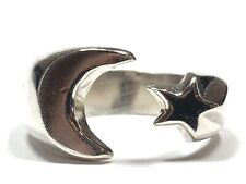 Star Ring - Mexico - Size 11 Beautiful Vtg Unisex Sterling Silver Moon &