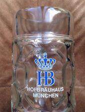 German Dimple Glass Beer Stein Large 1L Hofbrauhaus Munchen Very Cool!