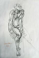 Harry Carmean drawing of seated male model 1968