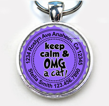 Keep Calm & Omg A Cat Lavender custom cute 11 colors pet dog cat tag id