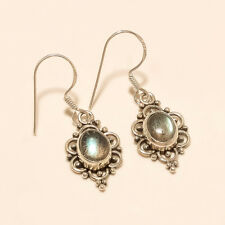 Natural Madagascar Blue Flame Labradorite Charm Earrings Sterling Silver Jewelry