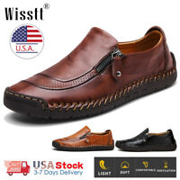 Men's Leather Casual Shoes Hand Stitching Breathable Antiskid Driving Loafers US