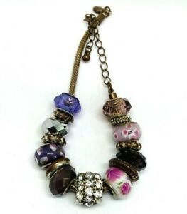 Chunky Charm Beaded Bracelet Multi coloured Beautiful Glass Rhinestone Spacer