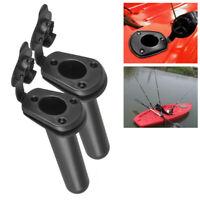 2 Pcs Flush Mount Fishing Boat Rod Holder Bracket With Cap Cover for Kayak Pole