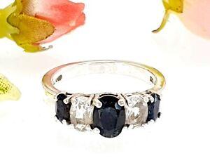 Sterling Silver Black Sapphire & White Topaz 5 Stone Ring - UK Size N 1/2