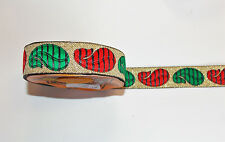 Paisley Rosso Verde Oro Jacquard Motivo Ricamato Applique Ribbon Trim Indiano