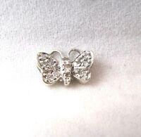 14K White Gold Butterfly .22CT Diamond Pendant VINTAGE