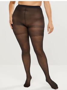 Lane Bryant Tights Pantyhose Burlesque Control Top Smoothing Chevron Black E / F