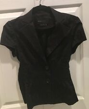BCBG Max Azria Black Short Sleeve Jacket Blouse XS Smocked Waist Great Condition
