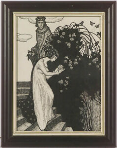 """Erwin Stolz (1896-1987), """"In Garden"""", Ink Drawing, ca.1925 (m)"""