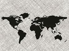 BLACK WORLD MAP OVER GRUNGE STRIPES PHOTO ART PRINT POSTER PICTURE BMP292A