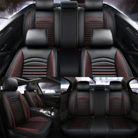 Car Seat Cover PU Leather Mesh 5-Seats Full Set Seat Cushion Protector Black/Red