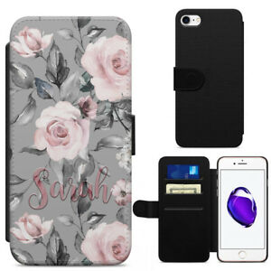 Personalised Rose Floral Flowers Leather Flip Wallet Phone Case Any Name Printed