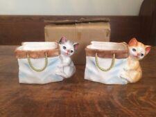 Vintage Ceramic Kitty Cat Planters - CMC - Made In Japan - In Original Box!!