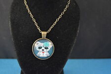 Sugar Flower Adorable PUPPY  Cabochon  PENDANT -  NECKLACE   New!  Jewelry  USA!