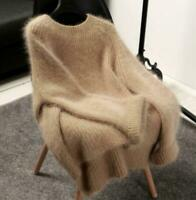 Chic Women cashmere mink fur Pullover Sweater Oversize Stretch Tops Coat Jacket