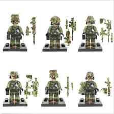 6PCS Marine Corps Army Minifigures Building Blocks Sets Model Bricks