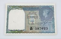 1940 Reserve Bank of India WWII-era 1 Rupees Note Pick #25a XF Condition