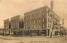 Waterloo Iowa~Ellis Hotel~Barber Shop Pole~FG Fuchs~Drugs~1910 Sepia Postcard